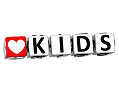 3d love kids button click here block text - stock illustration