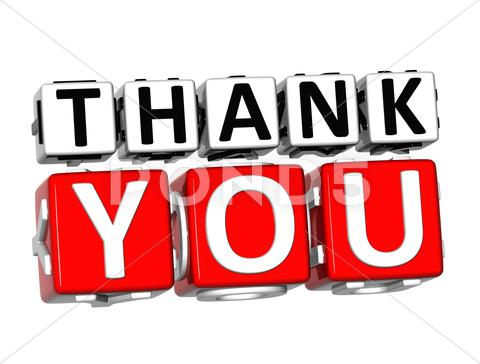 Stock Illustration of 3d thank you button click here block text