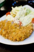 japanese breaded deep fried pork cutlet - stock photo