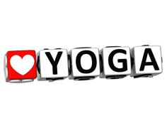 Stock Illustration of 3d love yoga button click here block text