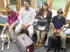 Owners Sitting In Vets Reception Area - stock photo