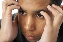 Portrait Of Stressed Young Boy - stock photo