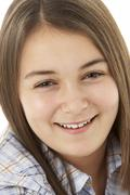 Portrait Of Smiling Young Girl Stock Photos