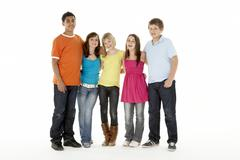 Group Of Five Young Children In Studio Stock Photos