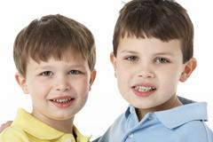 Portrait Of Two Young Boys - stock photo