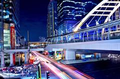 sky bridge connection to bangkok rapid transit station, bangkok, thailand - stock photo
