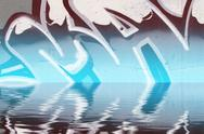 Graffiti reflection in the water, artistic chrome letters Stock Illustration