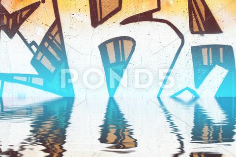 Stock Illustration of graffiti reflection in the water, artistic chrome letters