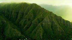 Aerial view Koolau mountain Range, Hawaii Stock Footage