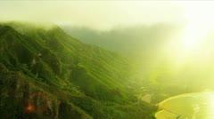 Aerial view Koolau mountain Range Hawaii Stock Footage