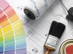 Decorating Equipment On House Plans Stock Photos
