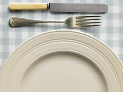 Overhead View Of Place Setting - stock photo