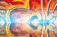 Graffiti wall texture reflection in  water, artistic urban picture Stock Illustration