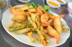 Japanese tempura with variety of vegetables Stock Photos