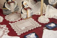 Display In Brussels Lace Shop Stock Photos