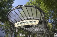 France,Paris,Entrance To Metro Station Stock Photos