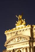 Exterior Of Paris Opera House At Night Stock Photos