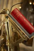 Bible On Lectern In Bristol Cathedral - stock photo
