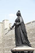 Statue Of Queen Victoria Outside Windsor Castle Stock Photos