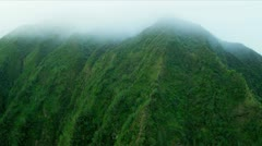 Aerial view of volcanic lava cliffs, Hawaii - stock footage