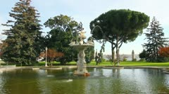 Fountain in Dolmabahce sultan palace - Istanbul Turkey Stock Footage