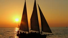 Sailship in sunset Stock Footage