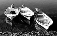 Three fishing boats Stock Photos