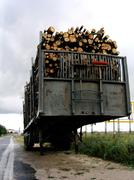 Trailer of stacked timber Stock Photos