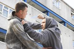 Knife Crime On Urban Street Stock Photos