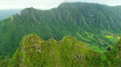 Aerial landscape view ridges of volcanic lava, Hawaii - stock footage