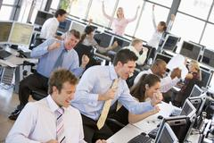 View Of Busy Stock Traders Office - stock photo