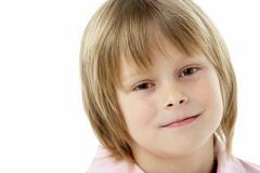 Studio Portrait of Smiling Boy Stock Photos