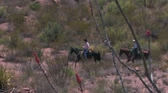 Mounted riders in rugged landscape framed by ocotillo Stock Footage