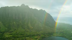 Stock Video Footage of Aerial view of coloured rainbow, Hawaii