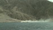 Stock Video Footage of Pyroclastic Flow Debris Sea Entry At Erupting Volcano