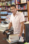 Male bookshop proprietor Stock Photos
