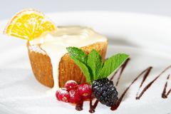 Cake with milk cream Stock Photos