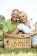 Mature couple having picnic in countryside Stock Photos