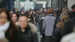 Morning commuters crowd of people walking going to work - stock footage