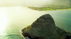 Aerial view Mokolii, Kaneohe Bay, Hawaii Stock Footage