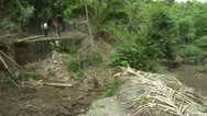 Stock Video Footage of Dangerous Unstable Bridge Spans Ravine