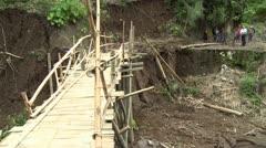 Motorbike Crosses Dangerous Unstable Bridge Stock Footage
