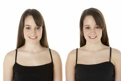 Studio portrait of teenage twins Stock Photos