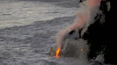 Steam Rising Volcanic Lava Stock Footage