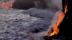 Volcanic Lava Pouring Into Ocean Stock Footage