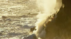 Molten Lava Steam Ocean Waves Sunset Stock Footage
