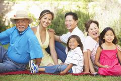 extended family group relaxing in garden - stock photo