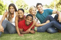 group of young friends having fun together - stock photo