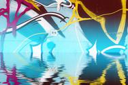 Background wall with graffiti reflection in  water, artistic urban picture Stock Illustration