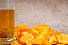 background with beer and chips - stock photo